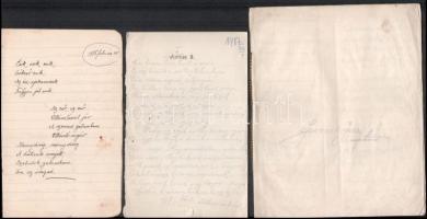 1915-1917 Versek az első világháborúból / világháborúról, 2 db kézzel írt füzet