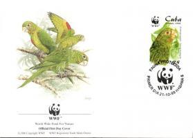 WWF Parrots set 4 FDC, WWF Papagájok sor 4 FDC, WWF Papageien Satz 4 FDC