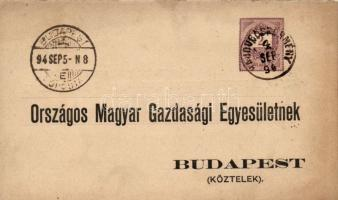 1894 Hivatalos díjjegyes levelezőlap HAJDUBÖSZÖRMÉNY