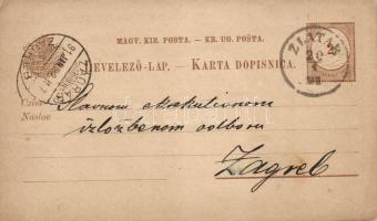 1891 Vízjel nélküli kétnyelvű díjjegyes levelezőlap ZLATAR