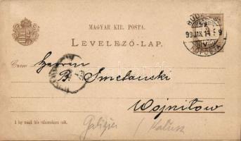1899 Válaszos díjjegyes levelezőlap Budapestről Galíciába, fel nem használt válaszlappal