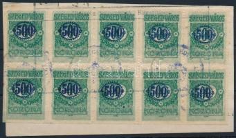 Szeged város 1923 500K/4K tizestömb alul és bal oldalon fogazatlan, kivágáson (54.000)