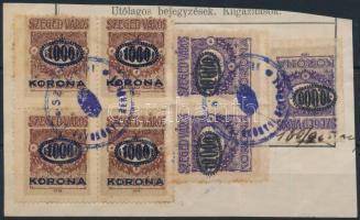Szeged város 1923 3 x 1000K/50f + 3 x 10000K/10K (2 alul, 1 2 oldalon vágott, kivágáson (48.000)