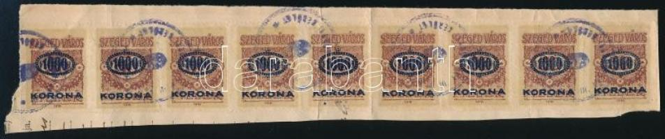 Szeged város 1923 1000K/50f kilences csík (1 bélyeg jobb oldalon vágott) kivágáson (20.000)