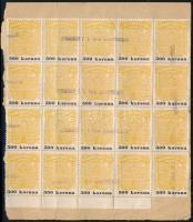 Szobathely város 1922 Bizonyítvány kiállítási díj 500K huszastömb kivágáson (80.000)