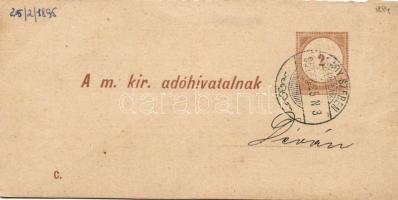 1895 Díjjegyes adóintés tértivevénye C minta NAGY-SZEBEN - Déva