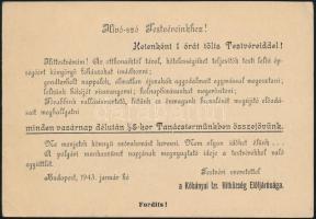 1943 Bp., Kőbányai Izraelita Hitközség Elöljárósága által kiadott felhívás
