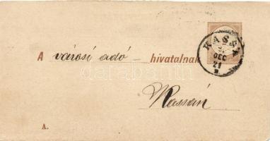 1895 Díjjegyes adóintés tértivevénye A minta KASSA