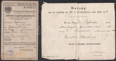 cca 1907-1940, judaika tétel, Engländer Salamon Zalagegerszegen született férfi okmányai, iratai, össz. 4 db: 1939 Dr. Junger Mózes (1878-1944) zalaegerszegi anyakönyvvezető főrabbi által aláírt kivonat, 1940 M. Kir belügyminiszter állampolgársági bizonyítvány szárazpecséttel és illetékbélyeggel, 1911 oltási bizonyítvány Berlin, Németország, 1907 munkás igazolvány Essen, Németország, mind hajtásnyommal, szakadásokkal, részben foltos / Judaica, 4 documents of one person, one of them with autograph signature by Mózes Junger (1878-1944), rabbi of Zalaegerszeg, Hungary, in worn condition