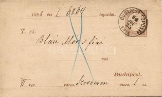1888 Díjjegyes adóintés tőlap BUDAPEST FŐPOSTA