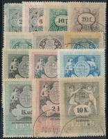 1898 13 db klf magyar okmánybélyeg
