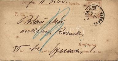 1887 Díjjegyes adóintés tőlap BUDAPEST FŐPOSTA