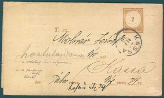 1885 Díjjegyes adóintés A minta futott teljes nyomtatvány KASSA