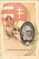 1802-1894 Kossuth Lajos szecessziós litho gyászlapja, magyar címer. Blau József kiadása / Obituary card of Lajos Kossuth. Hungarian coat of arms, Art Nouveau, litho s: Basch Árpád