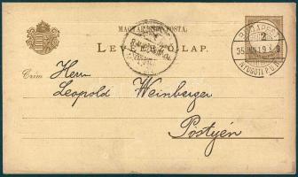 1895 Vízjel nélküli levelezőlap BUDAPEST NYUGOTI P.U.IV. - Pöstyén