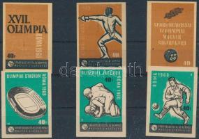 1960 Római olimpia gyufacímke sorozat, 6 db, berakólapon