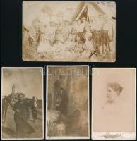 cca 1880-1926 4 db izraelita fotó (keményhátú portré, Jeruzsálem, Haifa, stb.) vegyes méretben és állapotban