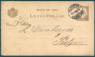 1895 Vízjel nélküli díjjegyes levelezőlap ODERBERG-BUDAPEST 37 vasúti bélyegzéssel Pöstyénbe