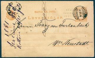 1881 Díjjegyes levelezőlap VII vízjellel Kottoriból PRAGERHOF BUDAPEST 8 vasúti bélyegzéssel Bécsújhelyre