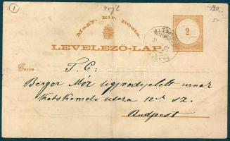 1879 Díjjegyes levelezőlap IV vízjellel PRAGERHOF BUDAPEST 8 vasúti bélyegzéssel