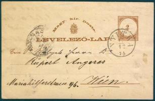 1875 Díjjegyes levelezőlap Nyitráról dekoratív levélzáróval