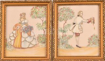 2 db üvegezett képkeret festett selyemképpel. Képméret 15x20 cm,