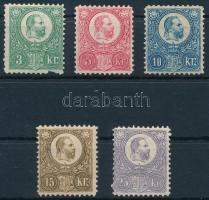 1883 Újnyomat / Reprints 3kr (sérült / demaged), 5kr, 10kr, 15kr, 25kr (51.500)