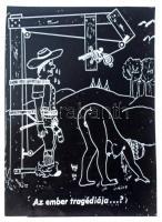 cca 1974 Az ember tragédiája, erotikus karikatúra negatívja nyomdatechnikai filmen, gyűrődésekkel, 11,5x8,2 cm