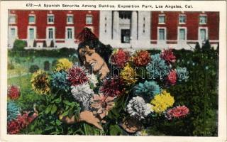 Los Angeles (California); A Spanish Senorita among dahlias, Exposition Park