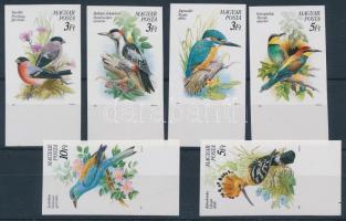 1990 Madarak XII. - Védett madaraink vágott ívszéli sor (8.000) / Mi 4069-4074 imperforate margin set