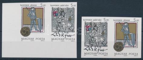 1990 Történelmi arcképcsarnok III. vágott normál és fordított állású pár (6.000) / Mi 4083-4084 imperforate pairs, normal and inverted