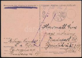 1945 Tábori posta levelezőlap készpénzes bérmentesítéssel Nyíregyházáról Budapestre, cenzúrázva / Field postcard with cash franking from Nyíregyháza to Budapest, censored. Certificate: Filep