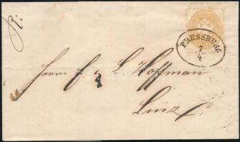 1865 15kr levélen / on cover PRESSBURG - Linz