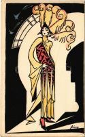 A Magyar Művészeti Vállalat kiadása, Orient Rt. / Hungarian fashion art postcard s: Sárossy