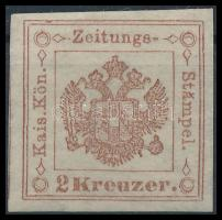 Newspaper duty stamp 2kr brown, Ib. Certificate: Steiner, Hírlapilletékbélyeg 2kr barna Ib Certificate: Steiner