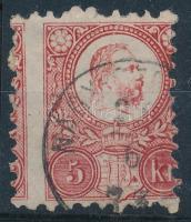 1871 5kr erősen elfogazva / Mi 10 with shifted perforation