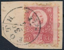 1871 5kr FÓTH erősen elfogazva (Gudlin 400 p) / shifted perforation