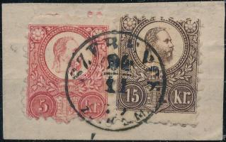 1871 5kr és 15kr kivágáson, SZERENCS bélyegzéssel, elfogazásokkal / 5kr + 15kr with shifted perforation