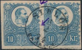 1871 10kr pár kivágáson, SIKLÓS bélyegzéssel, elfogazásokkal / stamp pair with shifted perforation