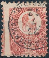 1871 5kr (BALA)SSA-GYARMAT / (N)ÓGRÁD.M. bélyegzéssel, látványos képbe fogazással / shifted perforation