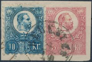 1871 5kr + 10kr kivágáson, kék festékelfolyás a fej felett / 5kr + 10kr paint spot