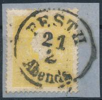 1858 2kr IIa, sárga / yellow. PESTH / Abends Certificate: Strakosch