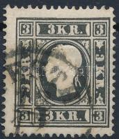 1858 3kr Iay, fekete, elfogazva / black, with shifted perforation. (P)ESTH Certificate: Strakosch