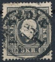 1858 3kr Iaz, fekete, kis elfogazással / black, with shifted perforation. SZEGEDIN Certificate: Strakosch