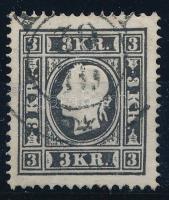 1858 3kr IIa, fekete, 0,13 mm-es kartonpapíron / black, on cardboard. A(LB)A Certificate: Ferchenbauer