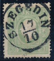 1858 3kr a, világos zöld, kicsit elfogazva / light green, with shifted perforation SZEGEDIN Certificate: Strakosch