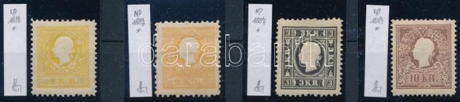 1884-1887 4 klf Újnyomat / 4 different reprints. Identification: Strakosch