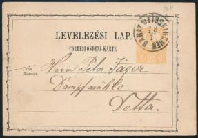 1871 2kr díjjegyes levelezőlap / PS-card BANAT WEISSKIRCHEN