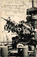 An Bord SM Schiff Budapest K.u.K. Kriegsmarine / SMS Budapest az Osztrák-Magyar Haditengerészet Monarch-osztályú partvédő csatahajója (Pola és Trieszt védelmét látta el), matrózok az ágyúcsövön ülnek / Austro-Hungarian Navy, Monarch-class coastal defense ship (Pula and Trieste), mariners sitting on the cannons. M. Fischer (fl)