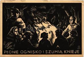Plonie ognisko i szumia knieje / Polish scout art postcard, sitting by the campfire s: Wincentego Gawron (kis szakadások / small tears)